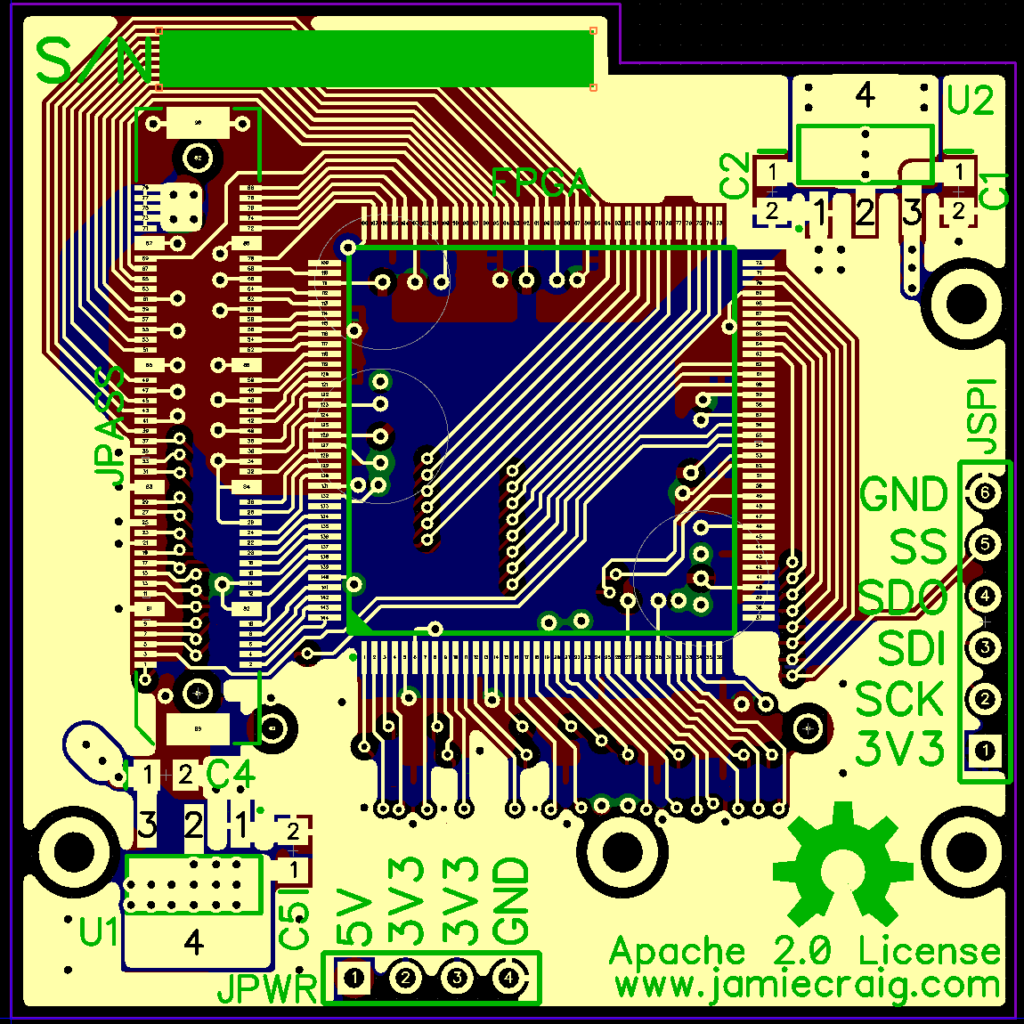 picture of the PCB layout for the novena mezzanine board